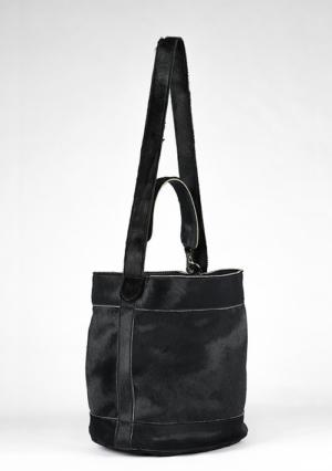 BonVivantBags - saco mediano Sabah Africano Piel Potro Negro vista lateral
