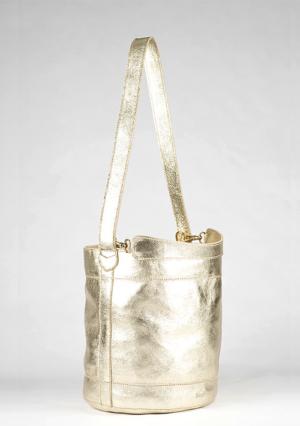 BonVivantBags - saco mediano Sabah Piel Metalizado Dorado vista lateral