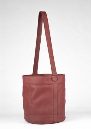 BonVivantBags - saco mediano Sabah Rojo Piel vista lateral